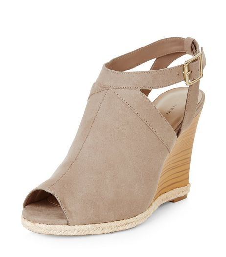 Light Brown Suedette Peep Toe Wedges  | New Look