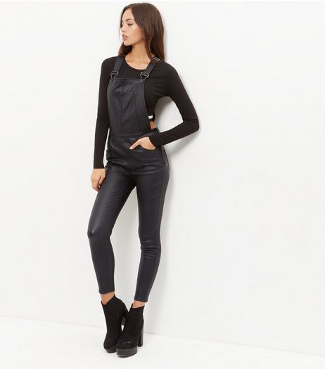 Black Coated Super Skinny Dungarees | New Look