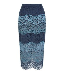 Blue Stripe Lace Split Hem Pencil Skirt | New Look