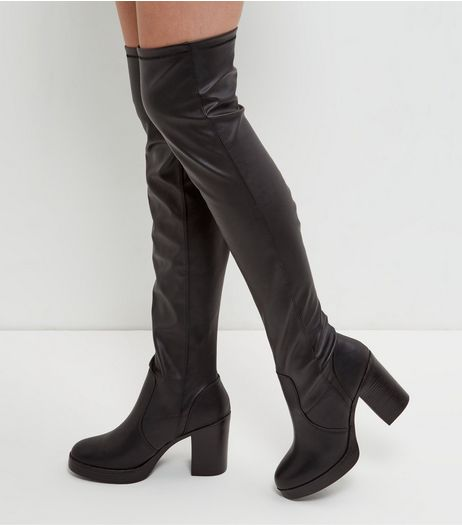 Black Leather-Look Block Heel Over The Knee Boots  | New Look