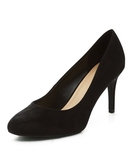 Black Suedette Court Shoes  | New Look