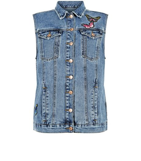Blue Butterfly Badge Denim Gilet  | New Look