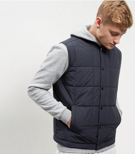 Navy Quilted Gilet | New Look