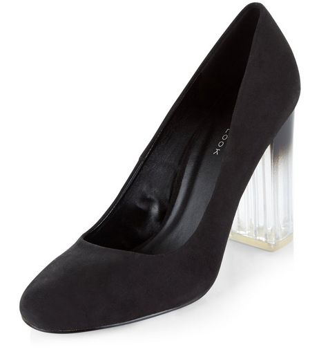 Black Suede Perspex Court Shoes  | New Look