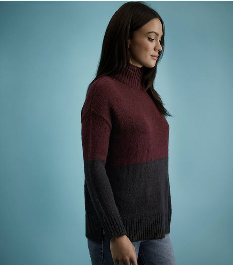 Black Colour Block Turtle Neck Jumper  | New Look