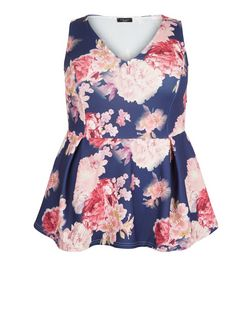 Curves Blue Floral Print Peplum Top | New Look