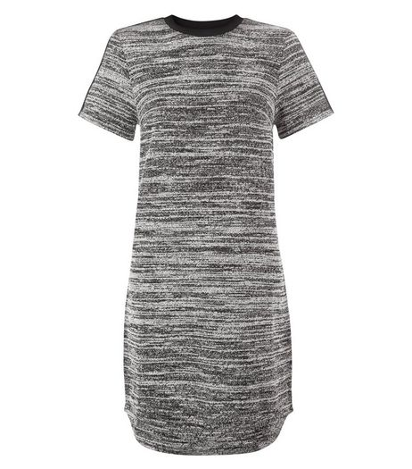 Black Fine Knit Contrast Panel Tunic Dress | New Look