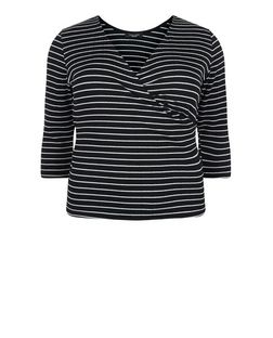 Curves Black Stripe Wrap Front Top  | New Look