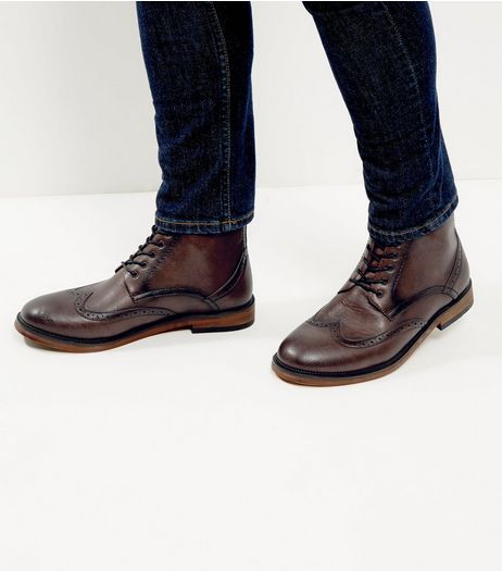 Dark Brown Brogue Ankle Boots | New Look