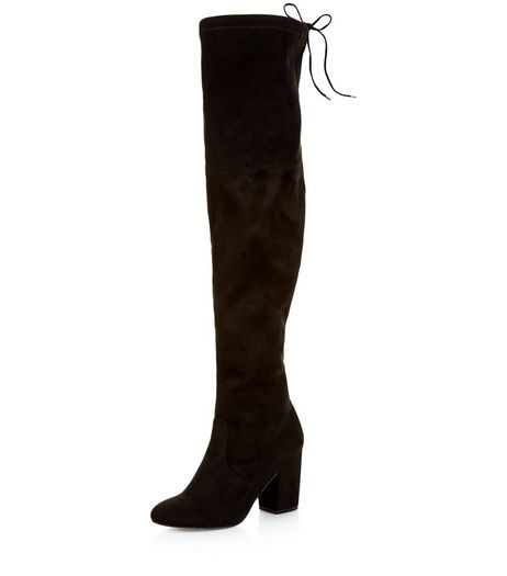 Black Suedette Tie Back Over The Knee Boots  | New Look