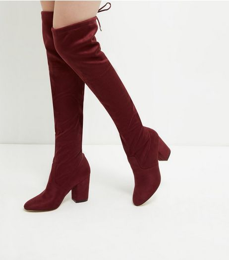 Dark Red Suedette Tie Back Over The Knee Boots | New Look