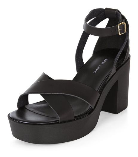 Black Leather-Look Chunky Platform Heels | New Look
