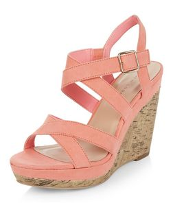 Coral Suedette Cross Strap Wedges  | New Look