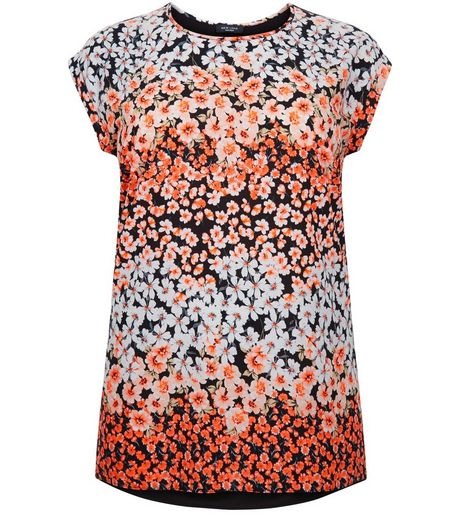Curves Black Floral Print Woven T-Shirt | New Look
