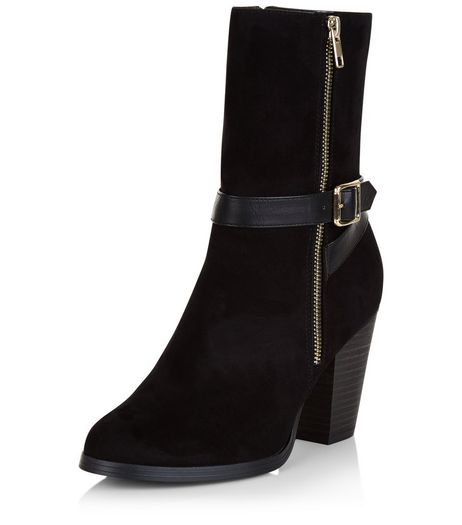 Black Buckle Strap Block Heel Calf Boots  | New Look