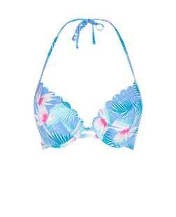 Blue Tropical Print Extreme Push Up Bikini Top | New Look