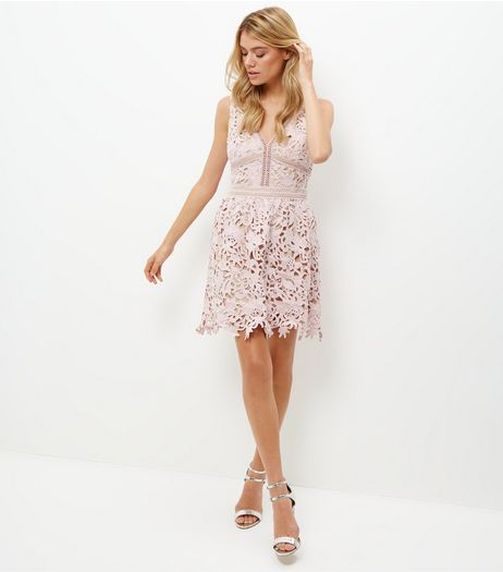 Mink Premium Lace Ladder Trim Skater Dress | New Look