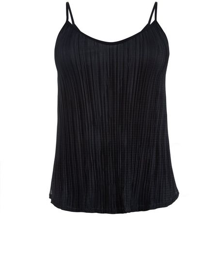 Curves Black Pleated V Neck Cami | New Look