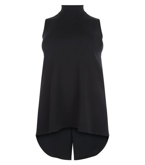 Curves Black Turtle Neck Dip Hem Top | New Look