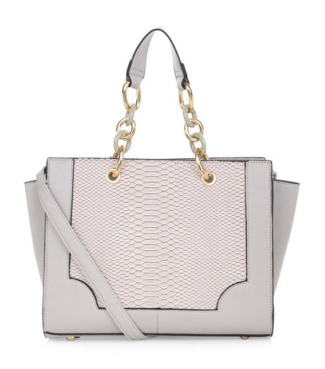 Mink Snakeskin Panel Chain Strap Tote Bag | New Look