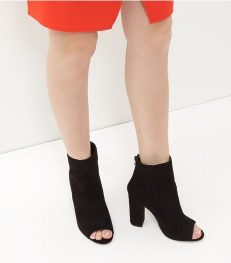 Black Suede Peep Toe Block Heel Ankle Boots | New Look