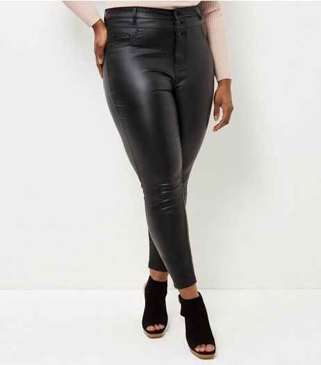 Curves Black Coated High Waisted Skinny Jeans | New Look