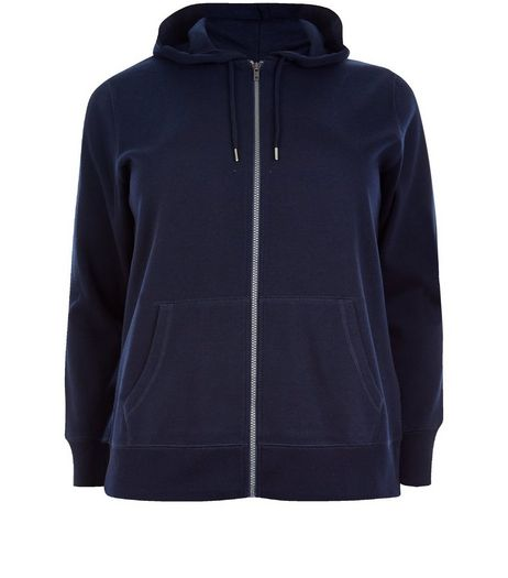 Curves Navy Zip Up Hoodie | New Look