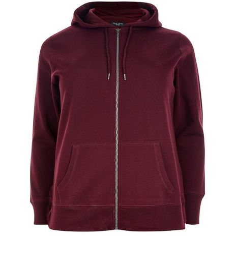 Curves Burgundy Zip Up Hoodie | New Look