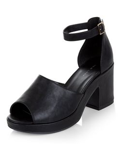 Black Peep Toe Ankle Strap Block Heels  | New Look