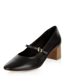 Black Premium Leather Block Heel Court Shoes | New Look