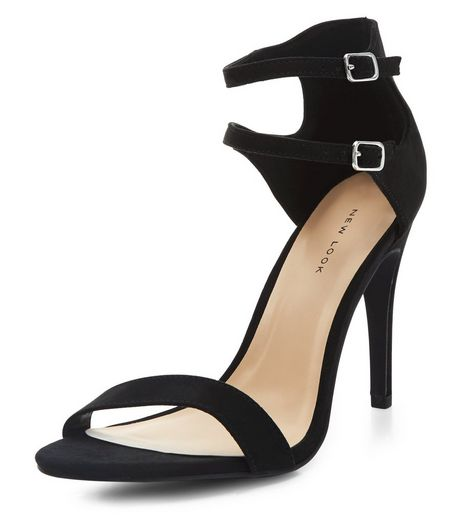Black Double Ankle Strap Heels  | New Look