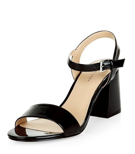 Black Patent Ankle Strap Block Heels  | New Look
