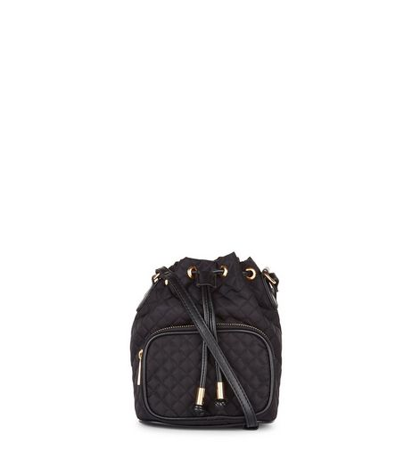 Black Mini Quilted Duffle Bag  | New Look