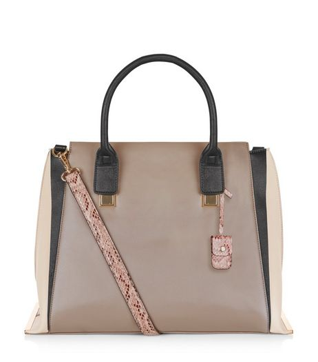 Mink Colour Block Tote Bag  | New Look