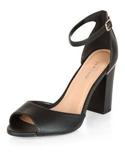 Black Peep Toe Metal Trim Block Heel Sandals  | New Look
