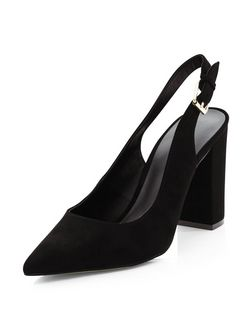 Black Suedette Sling Back Court Shoes  | New Look