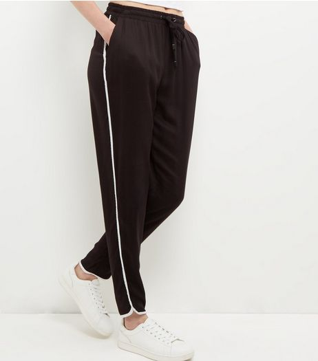 Black Contrast Trim Joggers  | New Look