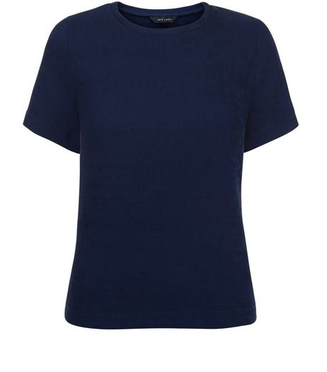 Navy Woven Split Side T-Shirt | New Look