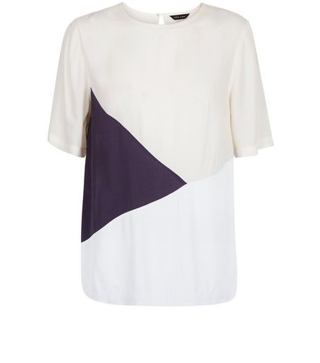 White Colour Block T-Shirt  | New Look