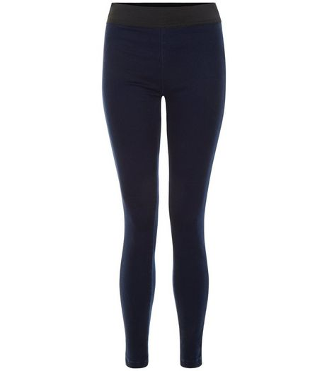 Navy Elasticated Waist Jeggings  | New Look