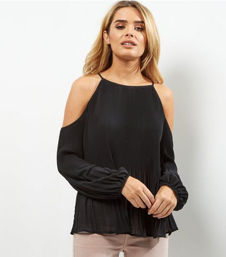 Black Pleated Cold Shoulder Long Sleeve Top  | New Look
