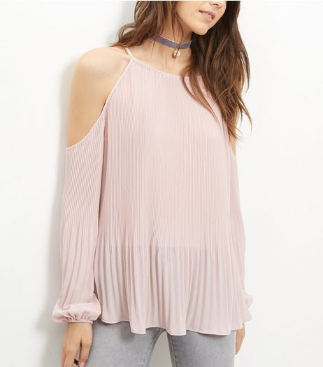 Pink Pleated Cold Shoulder Long Sleeve Top  | New Look