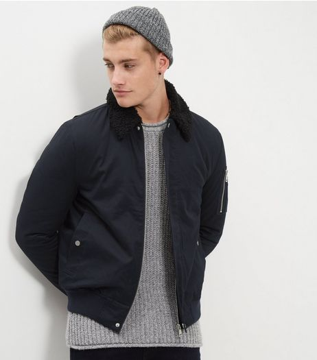 Navy Borg Trim Cotton Bomber Jacket | New Look