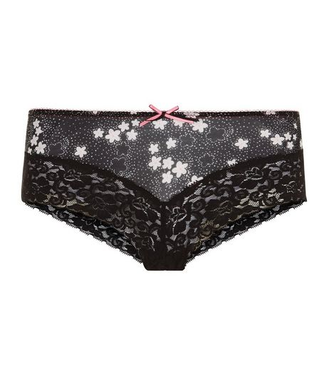 Black Ditsy Floral Lace Leg Brazilian Briefs | New Look