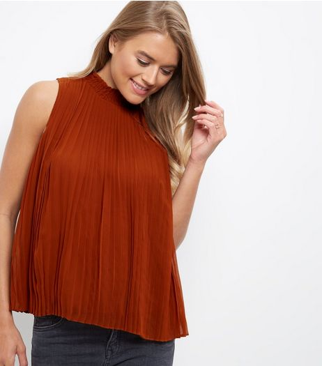 Brown Pleated Funnel Neck Sleeveless Top | New Look