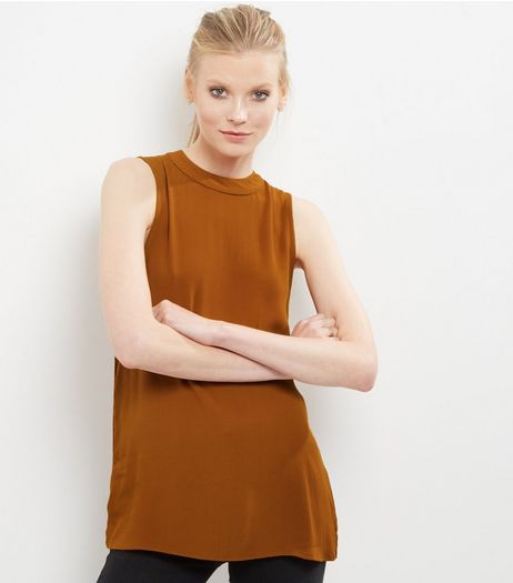 Light Brown Sleeveless Longline Top  | New Look