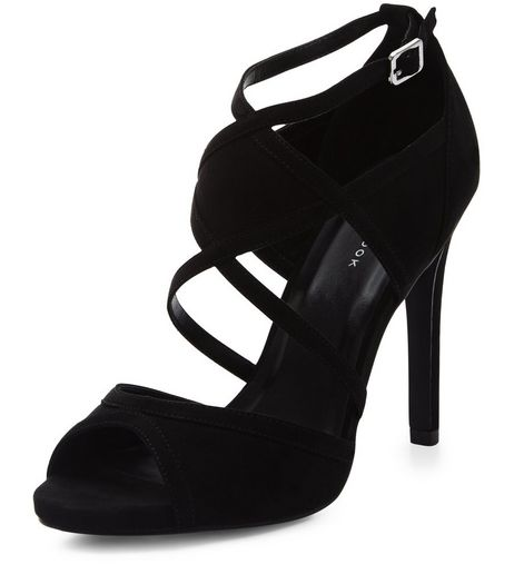 Black Suedette Strappy Heels | New Look
