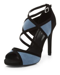 Black Colour Block Suedette Strappy Heels | New Look