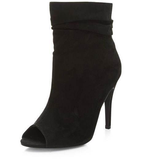 Black Suedette Peep Top Heeled Boots  | New Look