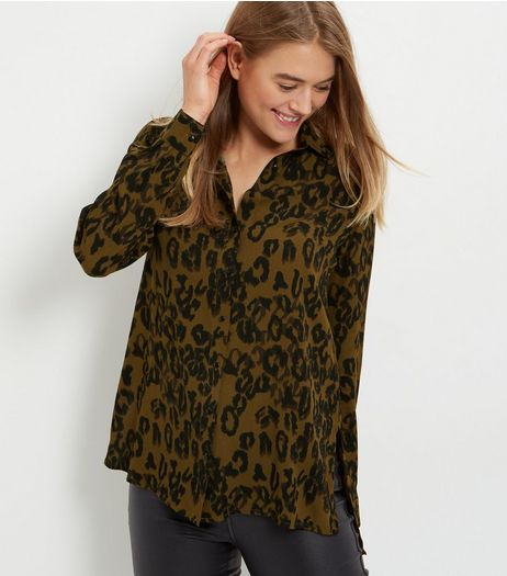 Green Animal Print Long Sleeve Shirt  | New Look